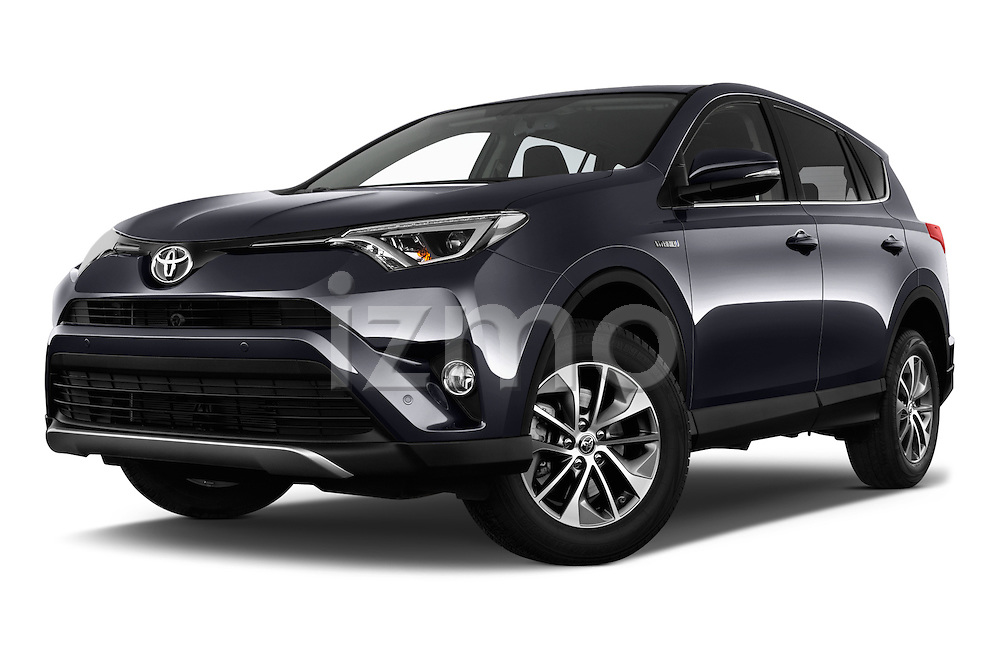 Stock pictures of low aggressive front three quarter view of 2016 Toyota RAV4 Business Edition Plus 5 Door Suv Low Aggressive