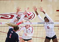 STANFORD, CA - November 4, 2018: Audriana Fitzmorris, Tami Alade, Jenna Gray at Maples Pavilion. No. 2 Stanford Cardinal defeated the Utah Utes 3-0.