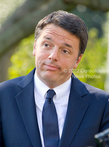 Prime Minister Matteo Renzi of Italy holds a joint press conference with United States President Barack Obama in the Rose Garden of the the White House in Washington, DC on Tuesday, October 18, 2016. <br /> Credit: Ron Sachs / CNP