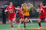 Los Angeles, CA 02/28/14 - Nina Kelty (USC #47), Kirsten Viscount (Marist #22) and Allison Gionta (Marist #3) in action during the Marist Red Foxes vs University of Southern California Trojans NCAA Women's lacrosse game at Loker Track Stadium on the USC Campus.  Marist defeated USC 12-10.