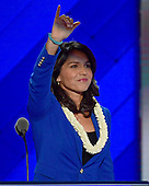 United States Representative Tulsi Gabbard (Democrat of Hawaii) places Senator Bernie Sanders' name into nomination for President of the United States during the second session of the 2016 Democratic National Convention at the Wells Fargo Center in Philadelphia, Pennsylvania on Tuesday, July 26, 2016.<br /> Credit: Ron Sachs / CNP<br /> (RESTRICTION: NO New York or New Jersey Newspapers or newspapers within a 75 mile radius of New York City)