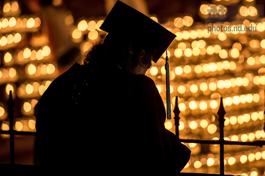 May 16, 2015; Prayer at the Grotto on the night before Commencement. (Photo by Matt Cashore/University of Notre Dame)