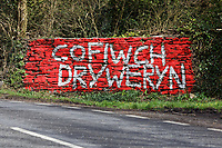 "A ""Cofiwch Dryweryn"" (Remember Tryeryn) graffiti on the A4302 Talley Road in the outskirts of Llandeilo, Wales, UK. Thursday 12 March 2020"