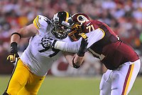 19 August 2013:  Steelers DE Brett Keisel (99) rushes around Redskins T Trent Williams (71). The Washington Redskins defeated the Pittsburgh Steelers 24-13 in preseason action at FedEx Field in Landover, MD.