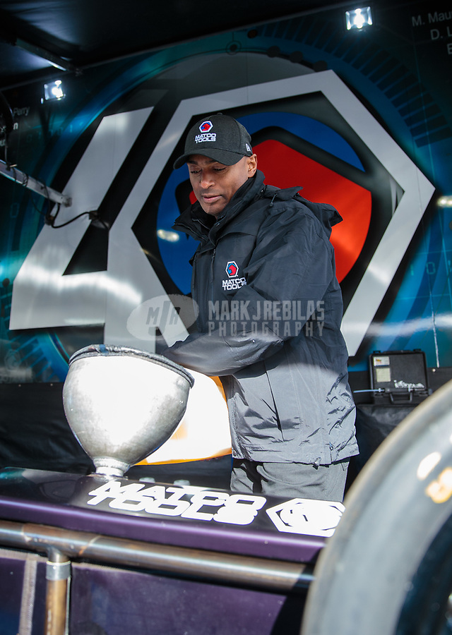 Feb 24, 2019; Chandler, AZ, USA; NHRA top fuel driver Antron Brown during the Arizona Nationals at Wild Horse Pass Motorsports Park. Mandatory Credit: Mark J. Rebilas-USA TODAY Sports