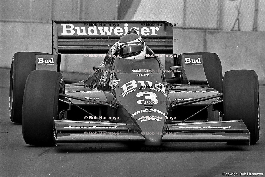 Bobby Rahal drives the Budweiser-sponsored Truesports March 86C Cosworth during the 1986 CART race in Toronto, Ontario, Canada.