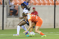 Houston, TX - Thursday Aug. 18, 2016: Cheyna Williams, Cari Roccaro during a regular season National Women's Soccer League (NWSL) match between the Houston Dash and the Washington Spirit at BBVA Compass Stadium.