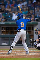 Lucius Fox (3) of the Durham Bulls at bat against the Charlotte Knights at BB&T BallPark on July 31, 2019 in Charlotte, North Carolina. The Knights defeated the Bulls 9-6. (Brian Westerholt/Four Seam Images)