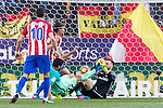 Luis Suarez of Futbol Club Barcelona competes for the ball with Jan Oblak of Atletico de Madrid  during the match of Spanish La Liga between Atletico de Madrid and Futbol Club Barcelona at Vicente Calderon Stadium in Madrid, Spain. February 26, 2017. (ALTERPHOTOS)