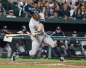 New York Yankees second baseman DJ LeMahieu (26) singles in the sixth inning against the Baltimore Orioles at Oriole Park at Camden Yards in Baltimore, MD on Saturday, April 6, 2019. The Yankees won the game 6 - 4.<br /> Credit: Ron Sachs / CNP<br /> (RESTRICTION: NO New York or New Jersey Newspapers or newspapers within a 75 mile radius of New York City)