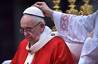 Pope Francis   during  the holy mass of Pentecost Sunday in Saint Peter's Basilica at the Vatican on 20 May 2018