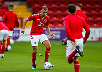 Fleetwood Town's Tommy Spurr warms up<br /> <br /> Photographer Alex Dodd/CameraSport<br /> <br /> The EFL Checkatrade Trophy - Northern Group B - Fleetwood Town v Leicester City U21 - Tuesday September 11th 2018 - Highbury Stadium - Fleetwood<br />  <br /> World Copyright &copy; 2018 CameraSport. All rights reserved. 43 Linden Ave. Countesthorpe. Leicester. England. LE8 5PG - Tel: +44 (0) 116 277 4147 - admin@camerasport.com - www.camerasport.com