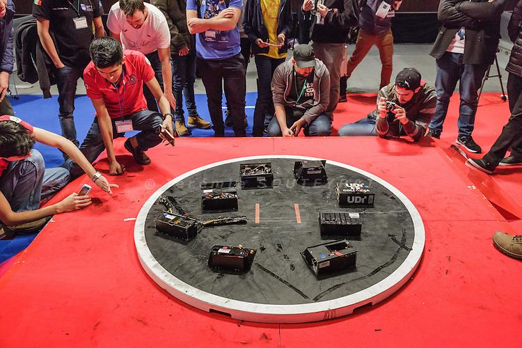 Tokyo, Japan, December 18 2016 - International ROBOT SUMO tournament 2016, held in the Ryogoku Kokugikan, the stadium for sumo tournaments. Part 2: International competition. Winner robots on display.