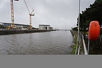 Heavy rain and a hight tide has caused rising levels of river Tawe near the Marina area of Swansea, Wales, UK. Monday 30 Sptember 2019