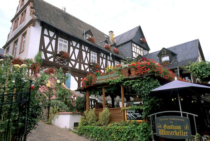 Germany Rudesheim Old Town by Rhine River tourist restaurant Winzerkeller
