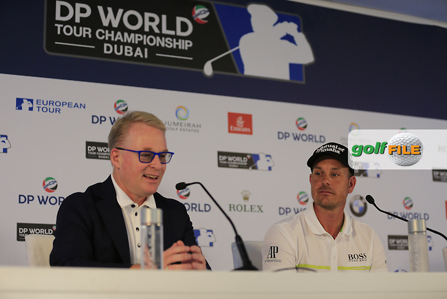 Keith Pelley, CEO of European Tour and Henrik Stenson (SWE) during his press conference ahead of the DP World Tour Championship, Jumeirah Golf Estates, Dubai, United Arab Emirates. 16/11/2016<br /> Picture: Golffile | Fran Caffrey<br /> <br /> <br /> All photo usage must carry mandatory copyright credit (&copy; Golffile | Fran Caffrey)<br /> <br /> Henrik Stenson today became the latest player to join the exclusive group of Honorary Life Members of the European Tour.<br /> <br /> Stenson is the 51st player &ndash; and the first from Sweden &ndash; to receive the accolade, in recognition of his maiden Major Championship win at the The 145th Open Championship at Royal Troon.<br /> <br /> The current Race to Dubai leader was presented with the award by Keith Pelley, Chief Executive of the European Tour, ahead of the DP World Tour Championship, Dubai, where he is in pole position to end the season as the European Tour&rsquo;s Number One.<br /> <br /> The first Honorary Life Member of the European Tour was its Founding Father, John Jacobs OBE, the Tour&rsquo;s first Executive Director. He was later joined by golf luminaries such as Seve Ballesteros, Jack Nicklaus and Arnold Palmer.<br /> <br /> Danny Willett became the 50th member of the club earlier this year in recognition of his triumph at the Masters Tournament and Stenson now follows him after becoming the second European Tour member to win a Major Championship in 2016.<br /> <br /> Stenson, who broke a plethora of long-standing records during his three-shot win in Troon, went toe-to-toe with five-time Major winner Phil Mickelson in a thrilling final day duel. The Swede carded a 63 to equal the lowest round in Major history, while his 264 aggregate score was also the lowest in a Major Championship.<br /> <br /> Stenson has enjoyed a stellar year, winning the BMW International Open in June and following up his triumph at The Open with a silver medal at the 2016 Olympic Games in Rio de Janeiro. A tied second-place finish at the WGC-HSBC Champions in Shanghai last month was enough to propel him to the top of the Race to Dubai Rankings heading i