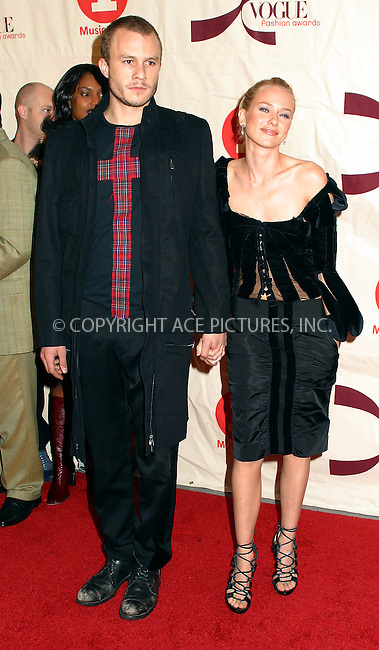 Aussie actors Heath Ledger and Naomi Watts arriving at 2002 VH1/Vogue Fashion Awards at Radio City Misic Hall. New York, October 15, 2002. Please byline: Alecsey Boldeskul/NY Photo Press.   ..*PAY-PER-USE*      ....NY Photo Press:  ..phone (646) 267-6913;   ..e-mail: info@nyphotopress.com