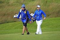 Jodi Ewart Shadoff (EUR) on the 1st fairway during Day 3 Singles at the Solheim Cup 2019, Gleneagles Golf CLub, Auchterarder, Perthshire, Scotland. 15/09/2019.<br /> Picture Thos Caffrey / Golffile.ie<br /> <br /> All photo usage must carry mandatory copyright credit (© Golffile | Thos Caffrey)