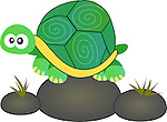 Vector Illustration of Cute cartoon turtle sitting on rocks. <br />