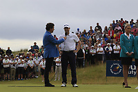 Russell Knox (SCO) being interviewed by Shane O'Donoghue after final round of the Dubai Duty Free Irish Open, Ballyliffin Golf Club, Ballyliffin, Co Donegal, Ireland. 08/07/2018<br /> Picture: Golffile | Thos Caffrey<br /> <br /> <br /> All photo usage must carry mandatory copyright credit (&copy; Golffile | Thos Caffrey)