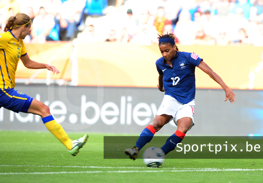 Fifa Women's World Cup Germany 2011 : Zweden - France Frankrijk at Sinsheim World Cup stadium : Elodie Thomis.foto DAVID CATRY / Vrouwenteam.be