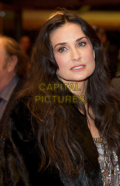 "DEMI MOORE.At the ""Happy Tears"" Film Premiere during the Berlinale 2009 59th International Berlin Film Festival in Berlin, Germany, 11th February 2009..portrait headshot black fur coat beaded silver embellished .CAP/PPG.©Jens Hartmann/People PIcture/Capital Pictures"