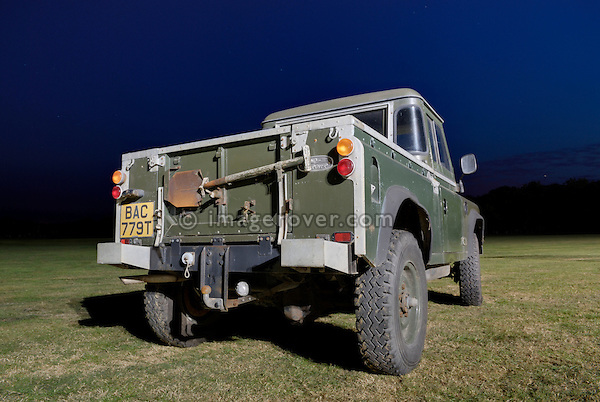 1978 Land Rover 100in wheelbase Prototype for the Swiss and French Army, exhibited at the at the Dunsfold Collection 2006 open day, Dunsfold, Surrey, England, UK. --- No releases available. Automotive trademarks are the property of the trademark holder, authorization may be needed for some uses. --- Information: 1978 Land Rover 100in Prototype for the Swiss Army, belonging to the Dunsfold Collection: chassis number 100S2M04X, registration number BAC 779T, engine type 3.5 V8 petrol 24V, gerabox type 4-speed. Vehicle History: This is one of a round 25 100in prototypes for the Swiss and French Army in 1978. Originally built as LHD, BAC was converted to RHD in the early eighties. A 24 Volt screened electrical system is used. There were quite a few body styles made, including Hard Top, Soft Top. and Station Wagon. The chassis were a one of for these vehicles, the axles were Range Rover, as were the engine and gearbox, some were fitted with automatic gearboxes and 2.25 petrol engines.The 100 inch wheelbase has inspired many enthusiasts to take an old Range Rover chassis and fit a Land Rover style body.