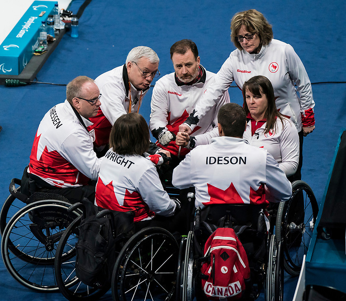 PyeongChang 14/3/2018 - Canada takes on Slovakia in wheelchair curling at the Gangneung Curling Centre during the 2018 Winter Paralympic Games in Pyeongchang, Korea. Photo: Dave Holland/Canadian Paralympic Committee