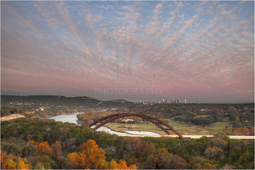 November is my favorite time of year to photograph Pennybacker Bridge with Austin in the distance. You can often find amazing clouds with the arrival of cold fronts moving down from the north. With that, you also find the trees changing colors, adding variety to the surroundings of this Austin icon.