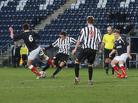 Ross Meechan tackled by Kris Faulds as he shoots at the Falkirk v St Mirren  Scottish Football Association Youth Cup 4th Round match played at the Falkirk Stadium, Falkirk on 16.12.12.