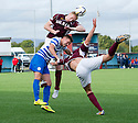 Stenny's Stewart Greacen heads clear from Morton's Andrew Barrowman and Stenny's Ross Meechan.