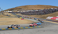 Jun. 21, 2009; Sonoma, CA, USA; NASCAR Sprint Cup Series driver Ryan Newman (39) leads Tony Stewart (14) during the SaveMart 350 at Infineon Raceway. Mandatory Credit: Mark J. Rebilas-