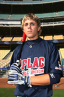 August 9 2008: Jacob Morris participates in the Aflac All American baseball game for incoming high school seniors at Dodger Stadium in Los Angeles,CA.  Photo by Larry Goren/Four Seam Images