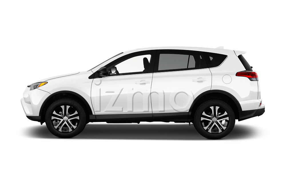 Car driver side profile view of a 2017 Toyota RAV4 LE 5 Door SUV
