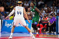 Real Madrid's player Jeffery Taylor and Unicaja Malaga's player Oliver Lafayette during match of Liga Endesa at Barclaycard Center in Madrid. September 30, Spain. 2016. (ALTERPHOTOS/BorjaB.Hojas) /NORTEPHOTO.COM