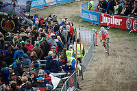 Yu Takenouchi (JAP/Veranclassic-Ekoi) in 'The Pit'<br /> <br /> Men Elite Race<br /> Superprestige Zonhoven 2015