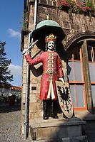 Deutschland, Thüringen, Nordhausen, Roland vor dem Rathaus
