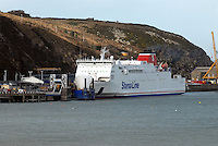 "Pictured: A Stena Lines ferry in the port of Fishguard west Wales.STOCK PICTURE<br /> Re: A ferry is back in port in Wales after its passengers and crew spent the night stranded in the Irish Sea.<br /> The Stena Line ferry between Rosslare and Fishguard in Pembrokeshire was unable to dock on Monday with 87 passengers and 59 crew stuck onboard.<br /> It was forced to sail to sheltered waters off the Llyn Peninsula in north Wales overnight and eventually docked nearly 24 hours later than planned.<br /> It follows flooding across Wales in the wake of Storm Angus.<br /> Diane Poole from the ferry operator said passengers had been in ""really good spirits"" despite their night at sea.<br /> ""The ship was well sheltered, they had a comfortable evening and they were well looked after, and they are in very good form this morning,"" she said."