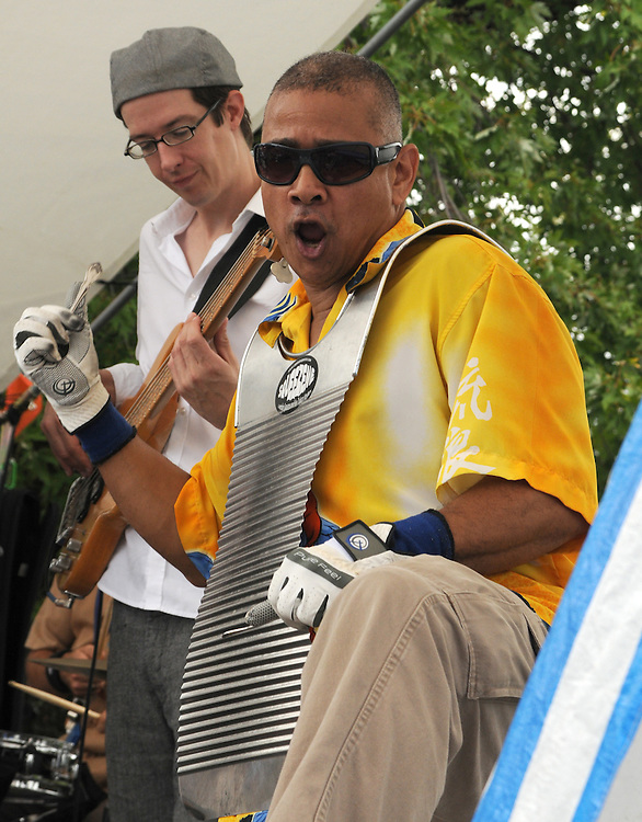 Members of Captain Squeeze & The Zydeco Moshers performing at the Pavillion Stage of the 23rd Annual Hudson Valley Garlic Festival at Cantine Field in Saugerties, NY on Saturday, September 24, 2011. Photo by Jim Peppler. Copyright Jim Peppler/2011.