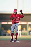 AZL Angels center fielder D'Shawn Knowles (20) celebrates after reaching second base during an Arizona League game against the AZL Athletics at Tempe Diablo Stadium on June 26, 2018 in Tempe, Arizona. The AZL Athletics defeated the AZL Angels 7-1. (Zachary Lucy/Four Seam Images)