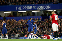 30th October 2019; Stamford Bridge, London, England; English Football League Cup, Carabao Cup, Chelsea Football Club versus Manchester United; Michy Batshuayi of Chelsea reacts as he fouls Scott McTominay of Manchester Utd - Strictly Editorial Use Only. No use with unauthorized audio, video, data, fixture lists, club/league logos or 'live' services. Online in-match use limited to 120 images, no video emulation. No use in betting, games or single club/league/player publications