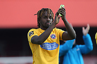 Tomi Adeloye of Dagenham and Redbridge thanks the fans during Ebbsfleet United vs Dagenham & Redbridge, Vanarama National League Football at The Kuflink Stadium on 13th April 2019