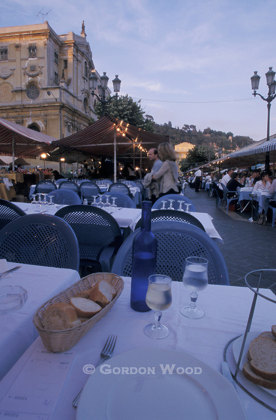 Table Setting at Outdoor Cafe in the Evening, Nice, France
