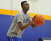 Hofstra University incoming freshman Desure Buie sqaures to the hoop during an informal men's basketball team workout at the team's practice facility on Wednesday, July 22, 2015.<br /> <br /> James Escher