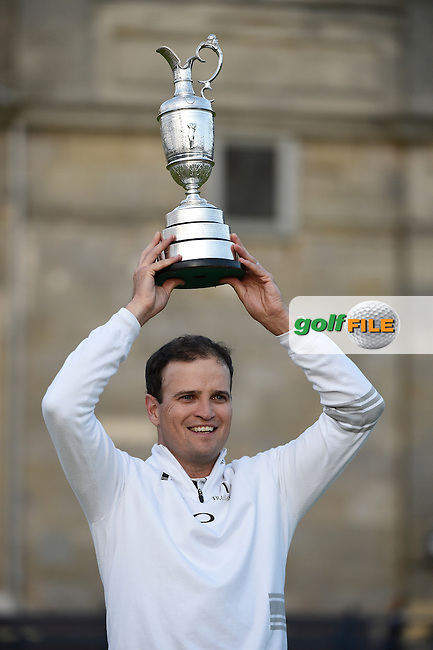 Winner Zach JOHNSON (USA), after 4 playoff holes, with the Claret Jug on the 18th green during Monday's Final Round of the 144th Open Championship, St Andrews Old Course, St Andrews, Fife, Scotland. 20/07/2015.<br /> Picture Eoin Clarke, www.golffile.ie