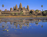 Angkor Watt Towers, Angkor Watt Archeological Park, Cambodia City of Angkor   Ancient city of Angkor   Built 1113-1150 AD Khymer culture ruins in SE Asia jungle   UNESCO World Heritage Site