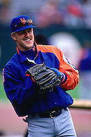 SAN FRANCISCO, CA - Jeff Kent of the New York Mets warms up before a game against the San Francisco Giants in 1994 at Candlestick Park in San Francisco, California. (Photo by Brad Mangin)