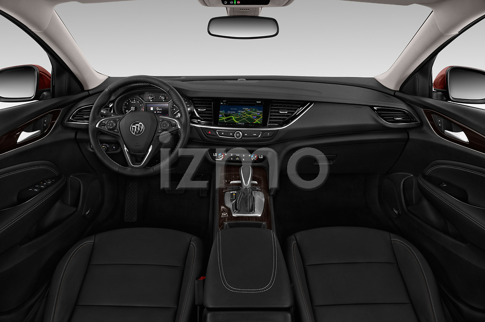 Stock photo of straight dashboard view of a 2019 Buick Regal-Sportback Essence 5 Door Hatchback