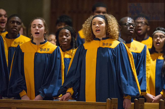 Jan. 19, 2015; Mass to honor Dr. Martin Luther King Jr. with the Voices of Faith Gospel Choir and Rev. Pete McCormick, C.S.C., who presided. (Photo by Barbara Johnston/University of Notre Dame)