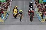 Guillaume Martin (FRA) Wanty-Gobert and Dylan Teuns (BEL) Bahrain-Merida sprint for the finish of Stage 2 of the Criterium du Dauphine 2019, running 180km from Mauriac to Craponne-sur-Arzon, France. 9th June 2019<br /> Picture: Colin Flockton | Cyclefile<br /> All photos usage must carry mandatory copyright credit (© Cyclefile | Colin Flockton)